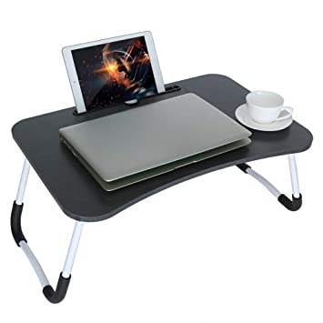 Portable Folding Table Bed Desk Stand For Computer Laptop Notebook with Slot