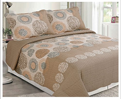 (Elegant Home Multicolor Beige Brown Tan Exotic Look With Geometric Patterns Circles Accented With Floral Designs Beautiful 3 Piece Modern Coverlet Bedspread Quilt King Size # 2024)