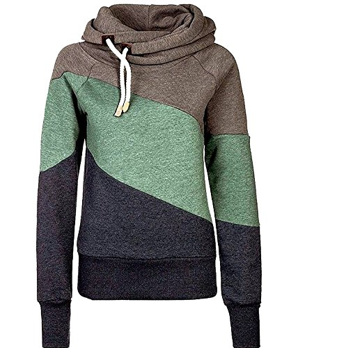 Huafeiwude Women's Thick Fleece Hooded Funnel Neck Sweatshirt Pullover Hoodie Khaki L