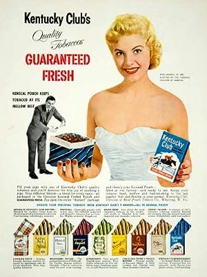 1957 Ad Kentucky Club Pipe Tobacco Miss Kenseal Pouch Wheeling WV Smoking Smoke - Original Print Ad