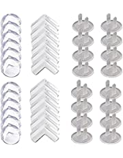 40 pcs Corner Protector and Outlet Cover, BOSOIRSOU Baby Proofing Table Corner Guards Furniture Corner Covers for Baby Safety, Clear Secure Electric Plug Protectors Socket Covers for Home Office