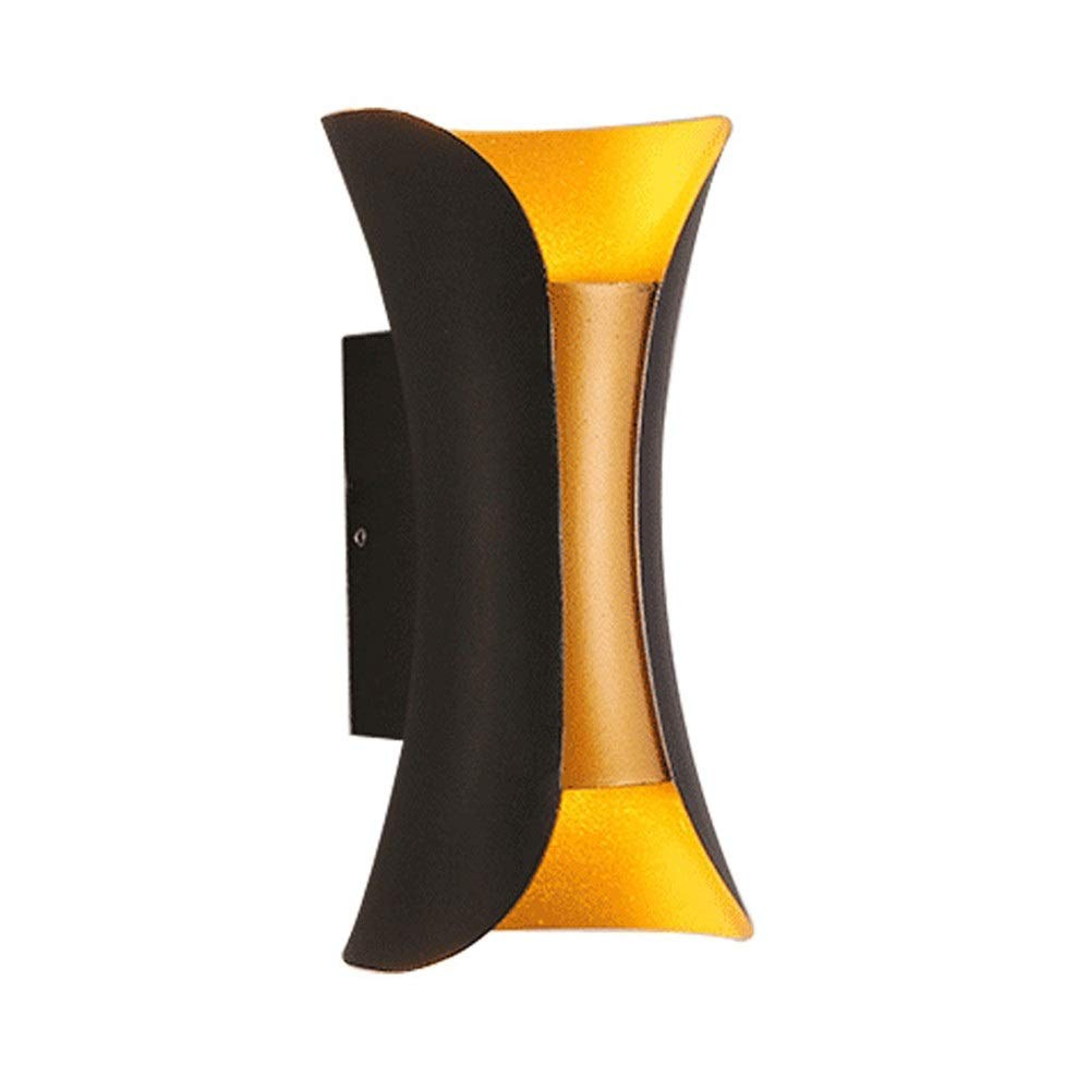 Double Head Wall Lamp Black Gold Creative Wall Lamp Simple Modern Indoor Living Room Bedroom Aisle Bedside Wall Lamp (Color : Warm Color, Pattern : A)