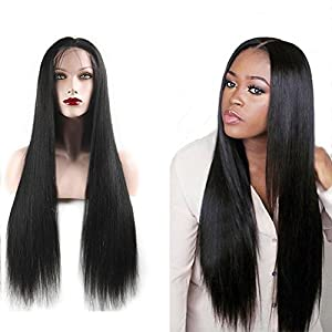 Melon Hair Lace Front Wig 100% Human Hair Wig Brazilian Virgin Remy Hair 130% Density Straight Natural Color Size 24