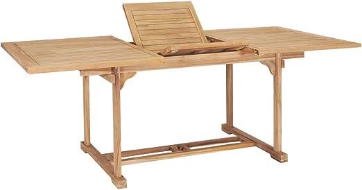 vidaXL - Mesa de jardín extensible de madera de teca maciza: Amazon.es: Juguetes y juegos