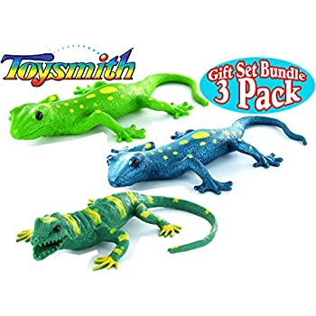 Toysmith Lizard Squishimals Light Green, Dark Green & Blue Complete Gift Set Bundle - 3 Pack