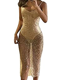 Sexy V-Neck Strap Backless See Through Sequins Bodycon Evening Party Clubwear Maxi Romper Dress