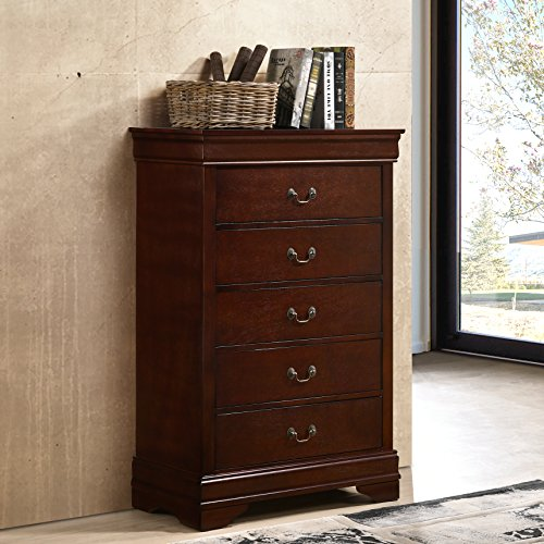 Roundhill Furniture Isola Louis Philippe Style Fully Assembled Wood Chest, Cherry Finish