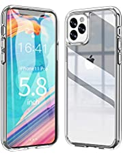 Ztotop Vitreous Luster Series Case for iPhone 11 Pro 2019, Clear Tempered Glass Back Panel & Soft Silicone Bumper Frame with Anti-Scratch Shockproof Protection for iPhone 11 Pro 5.8-inch - Black