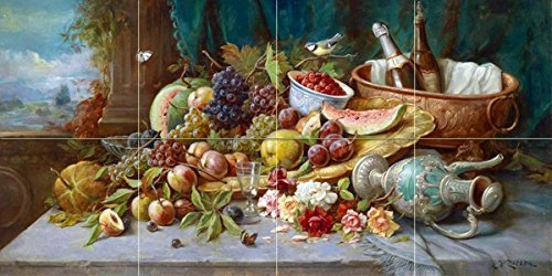 Cheap  Large Still Life with Fruit by Hans Zatzka Tile Mural Kitchen Bathroom..