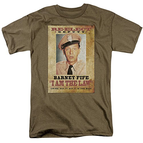 Andy Griffith Show - Barney Fife I Am the Law Adult Men's T-Shirt, Military Green