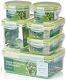 Zoë&Mii Premium 14 Pezzi coperchi con chiusura intelligente e contenitori per alimenti in plastica,Lunch box,Regalo.