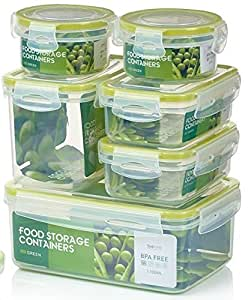 Zoe e Mii Contenedores Premium de Plastico para Comida con Tapas Smart Lock, son 14 piezas (7 contenedores e 7 tapas). Bueno para todo tipo de almacenamiento de alimentos.Recipientes de vidrio,hermeticos,conservacion de alimentos