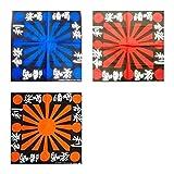 3 Japanese Rising Sun Bandanas Blue Red Orange Dew Doo Rag - 3RS2