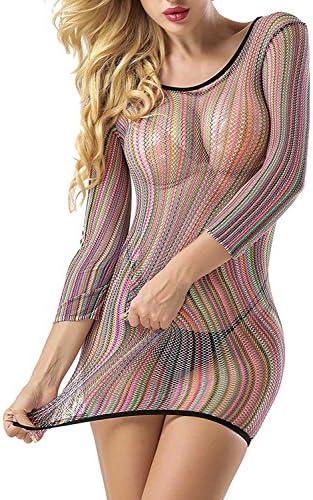 Yuege Bra Women Lingerie Rainbow Fishnet Babydoll Halter Stretch Chemise Best Gifts for Women Wife Girlfriend