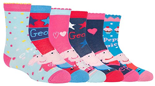 Peppa Pig - 6 Pack Girls Boys Kids Fun Colorful Cotton Peppa Pig and George Crew Socks (4-6 US, PPB3) for $<!--$11.99-->