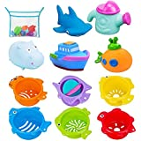 INNOCHEER 12 Pcs Bath Toys and Stacking Cups/Toys for Toddlers with Bonus Lock Tight Suction Hooks and Quick Dry Storage Net, Fun and Brightly Colored for Bathtub Game, Pool Party, Beach