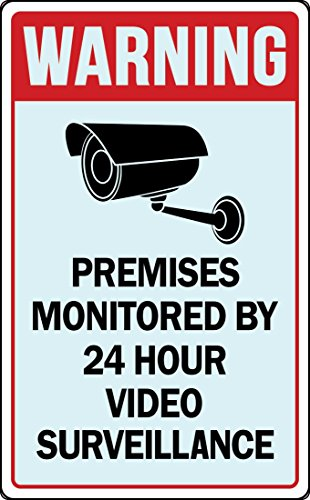 Warning Property under 24 Hour Video Surveillance Retail Store Business Sign (Plastic Video)