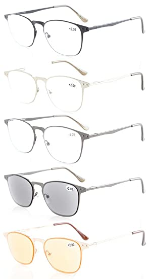 88e081a92ae Eyekepper 5-pack Quality Spring Temples Metal Reading Glasses Include Sun  Readers Computer Eyeglasses +