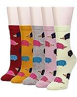 Cansok Women's Hedgehog Socks Fun Crazy Animal Novelty Dress Crew Socks (Hedgehog - 5 pairs)