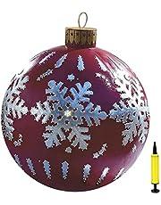 Juldekorationer uppblåsbara julgranskulor, julboll av PVC, uppblåsbar boll, 60 cm jul uppblåsbara utomhusdekorationer uppblåsbara julkulor dekoration med pump
