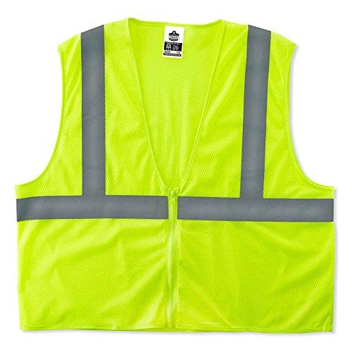Ergodyne GloWear 8205Z Reflective Safety Vest, High Visibility Lime Mesh, Type R Class 2, Zipper Closure, 2XL/ 3XL