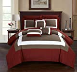 Chic Home Duke 10 Piece Comforter Set Complete Bed in a Bag Pieced Color Block Patterned Bedding with Sheet Set And Decorative Pillows Shams Included, King Brick Red