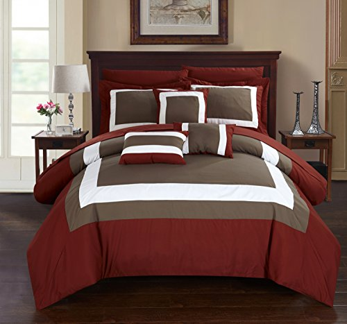 Chic Home Duke 10 Piece Comforter Set Complete Bed in a Bag Pieced Color Block Patterned Bedding with Sheet Set And Decorative Pillows Shams Included, Queen Brick Red (Patterned Bedding Sets)