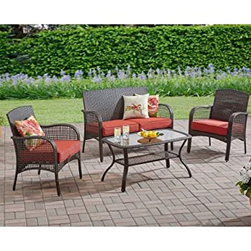Mainstays Cambridge Park 4 Piece Outdoor Patio Furniture Conversation Set,  Seats 4