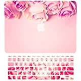 """TOP CASE – 2 in 1 Bundle Deal Graphics Rubberized Hard Case + Keyboard Cover Compatible with Apple MacBook Air 11"""" (11"""" Diagonally) Model A1370 / A1465 - Pink Rose on Rose Quartz Base"""