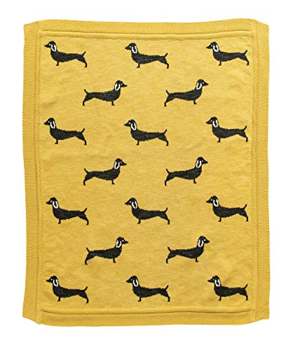 Creative Co-Op Cotton Knit Black Dachshund Dog Baby Blanket, Chartreuse (Coop Knits)