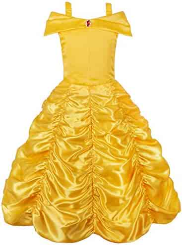 JerrisApparel Princess Belle Off Shoulder Layered Costume Dress Little Girl