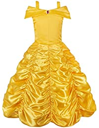 Princess Belle Off Shoulder Layered Costume Dress for Little Girl