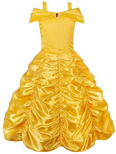 JerrisApparel Princess Belle Off Shoulder Layered Costume Dress for Little Girl (7 Years, Yellow) -