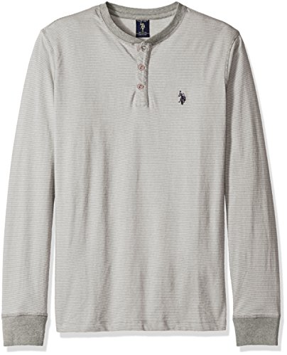Mens Long Sleeve Pullover - U.S. Polo Assn. Men's Long Sleeve Henley Pullover, Heather Grey, L