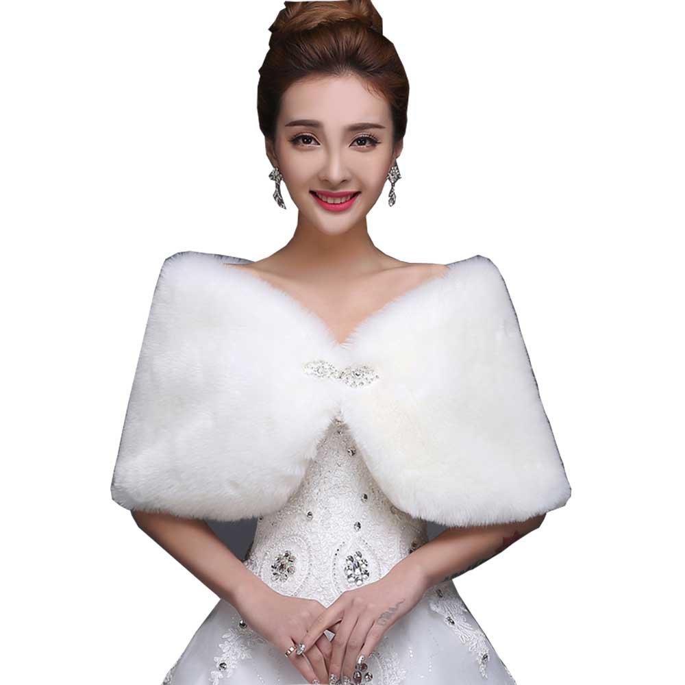 WDING Bridal Warm Fur Shawl White Wedding Bolero Wrap Cape Stole Women Coat White-double Sided Fur With Diamond One Size
