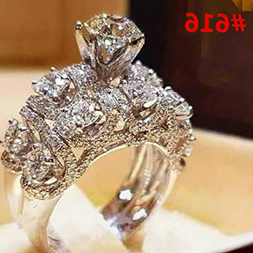 Dokis Fashion Women White Gold Plated Crystal Rhinestone Engagement Wedding Rings Gift | Model RNG - 4259 | 9