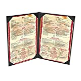 10-Pack 5-1/2'' x 8-1/2'' ''Classy'' Double Panel Pocket Menu Cover Leatherette