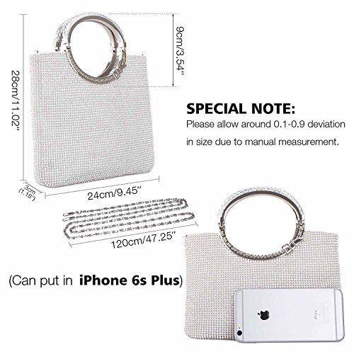 Rhinestone Evening Wedding Bag Purse Baglamor Silver Bags Clutch Handbag Women's Crystal qFnwFWUCt