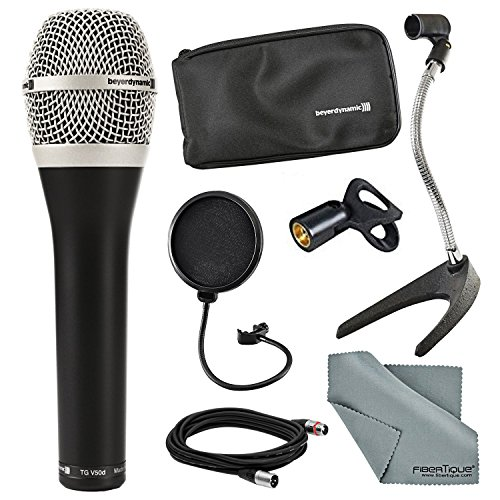 Beyerdynamic TG-V50D Dynamic Cardioid Microphone for Vocals and Accessory Bundle with Pop Filter, Cable, FiberTique cloth and More by Photo Savings
