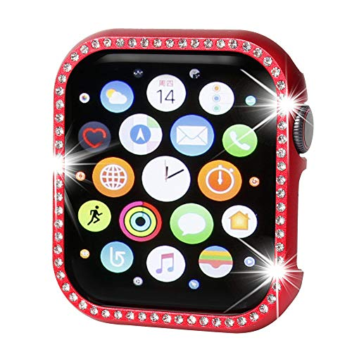 (Henstar Compatible with Apple Watch Case 40mm,Compatible with iWatch Face Bling Crystal Diamonds Plate Cover Protective Frame Compatible with Apple Watch Series 4 (Red-Diamond, 40mm))