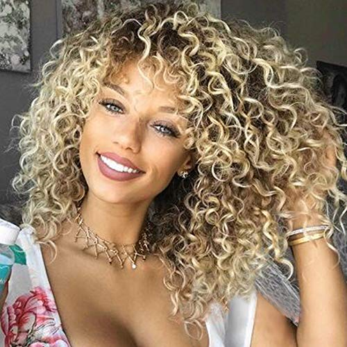 DANTB Gradient Blonde Afro Wig - Explosion Wig - Hippie Costume Wig for Halloween Costume Party