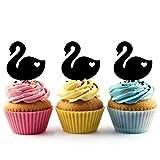 TA0431 Swan Love Heart Silhouette Party Wedding Birthday Acrylic Cupcake Toppers Decor 10 pcs