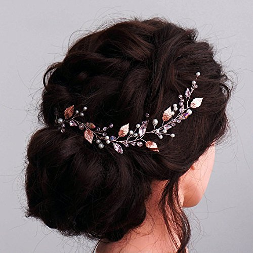 Kercisbeauty Handmade Simple Vintage Headband Wedding Bridal or Flower Girl Crystal Beads Leaf Leaves Branch Headband with Ribbon and Hair Pin Headpiece Hair Vine Bridal Accessories (Rose Gold) ()