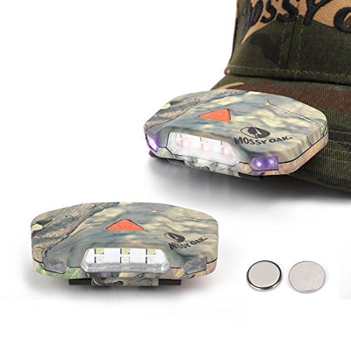 MOSSY OAK 2-pack Cap Hat Light Super Bright LED Headlamp Cap Visor light Clip-on Hat Light Hands Free for Hunting Camping Fishing