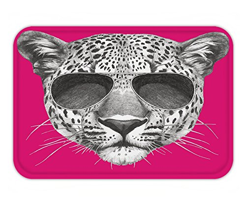 Minicoso Doormat Modern Hipster Leopard with Aviators Sunglasses Portrait Cool Wild Animal Illustration Magenta - Basketball Aviator