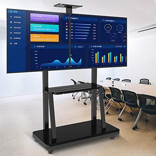 """調節可能なテレビ台、32"""" のユニバーサルデュアルスクリーンモバイルTVカート - 65"""" 132ポンドまでのLCD LEDプラズマフラットスクリーン、マックスVESA 600 * 400"""