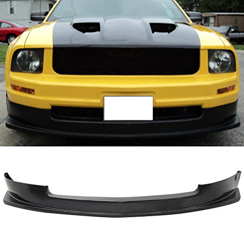 Front Bumper Lip Fits 2005-2009 Ford Mustang V6 | Sport style Black PU Front Lip Finisher Under Chin Spoiler Add On by IKON MOTORSPORTS | 2006 2007 2008