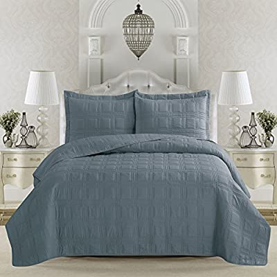 Terra Collection 3-Piece Luxury Quilt Set with Shams. Soft All-Season Microfiber Bedspread & Coverlet in Solid Colors with Embroidered Box Design. By Home Fashion Designs.