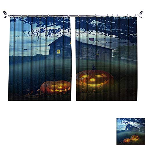 DESPKON Environmental Protection Material Polyester Halloween Pumpkins in Front of a Spooky House for Living Room Window,Sun Insulation. W120 x -