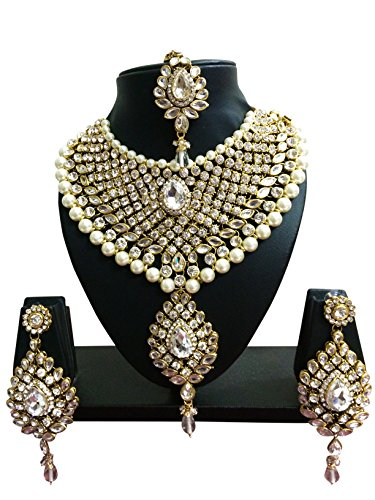 CROWN JEWEL Indian Bollywood Ethnic Wedding Bridal Gold Plated Fashion Jewelry Necklace Earrings Set For Womens